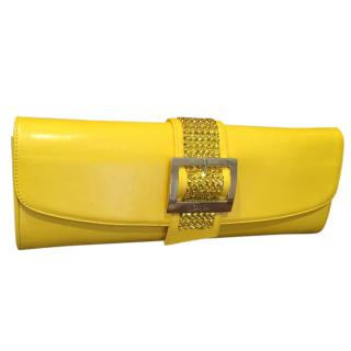 Gina yellow patent crystal clasp evening clutch
