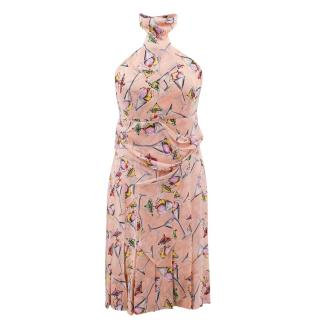 Chanel light pink silk chiffon ice cream print dress