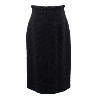 Chanel black tweed wool pencil skirt