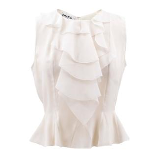 Chanel cream ruffled silk top