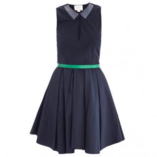 BAND of OUTSIDERS cotton dress with leather trim