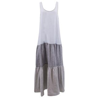 Lisa Marie Fernandez blue and grey linen maxi dress