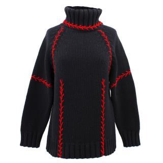 Alexander McQueen black cashmere turtle neck jumper