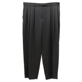 Lanvin black satin silk blend cropped trousers