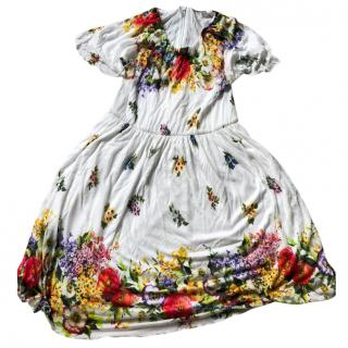 Dolce and Gabbana white floral dress 7-8