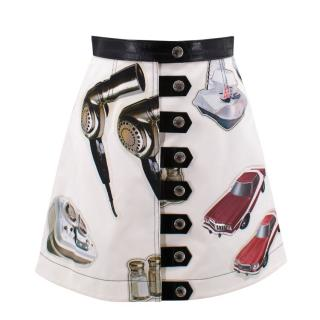 Louis Vuitton white printed cotton skirt