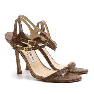 Jimmy Choo brown snake skin strap sandal heels