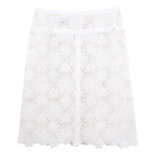 Chanel white lace cotton skirt