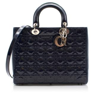 Dior Large Navy Patent Lady Dior Bag