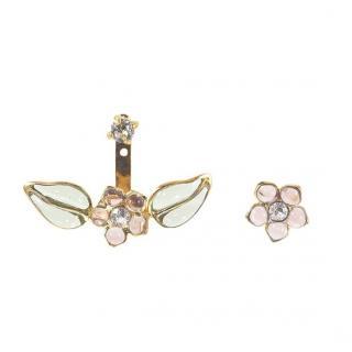 Gripoix Paris Pink Glass Flower Ear Jacket Rrp �169.00