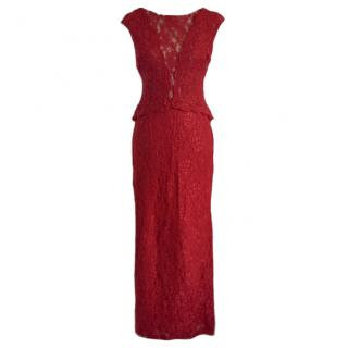 Lauren Ralph Lauren Lace Embellished Red Gown