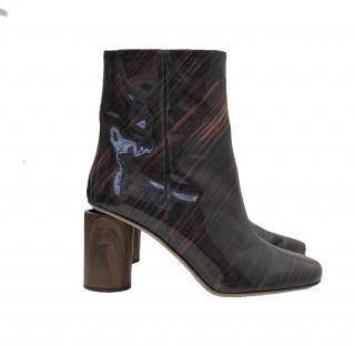 Acne Studios Allis Wood Ankle Boots- Acajou Brown
