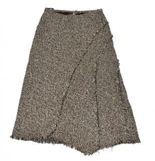 brown wool cotton tweed asymmetric skirt