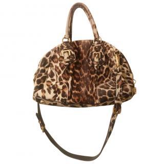 Prada leopard print calfskin bag
