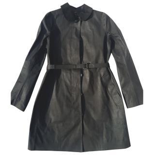 Coach black cotton leather trim coat
