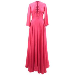 Bespoke Pink Silk Blend Maxi Dress
