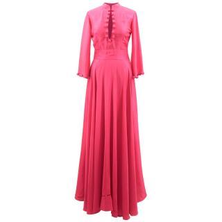 Bespoke Pink Silk Blend Maxi Dress