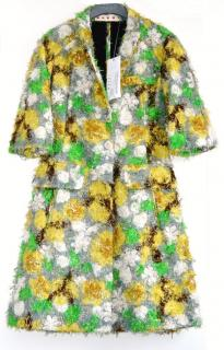 Marni Metallic printed pulled faille coat