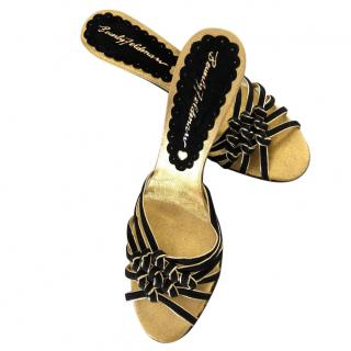Beverly Feldman black and gold eather sandals