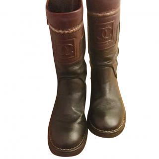 Chanel lambskin biker boots
