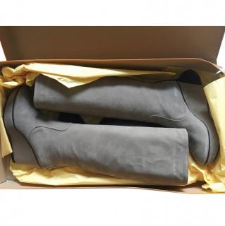 Tods Grey Suede Knee-high Wedge Boots
