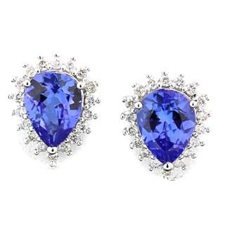 18k white gold earrings with diamonds and tanzanite