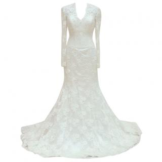 Suzanne Neville Cream Lace Wedding Dress