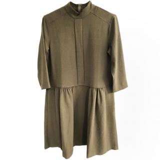GANNI olive green crepe dress