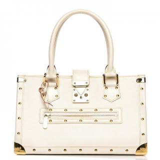 Louis Vuitton 'Le Fabuleux' White Bag With Gold Studs