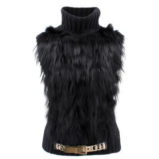 Gucci Black Fur Knitted Vest
