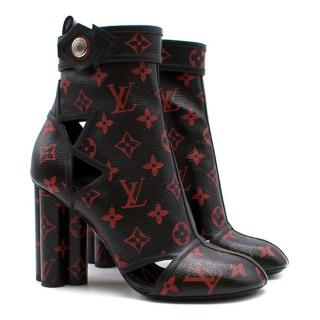 Louis Vuitton Black and Red Monogram Logomania Boots