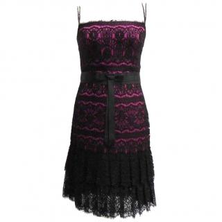 Marchesa Notte silk and lace dress