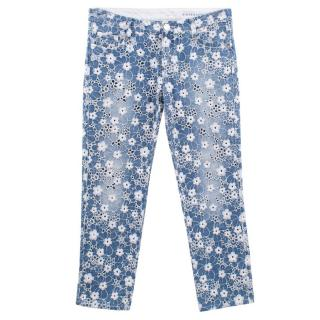 Ermanno Scervino White Floral Embroided Jeans