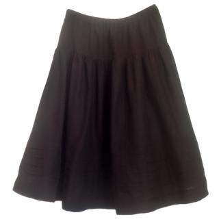 Theory Dark brown silk lined cotton skirt