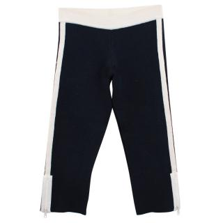 Ermanno Scervino Navy Knitted Cropped Trousers with Zippers