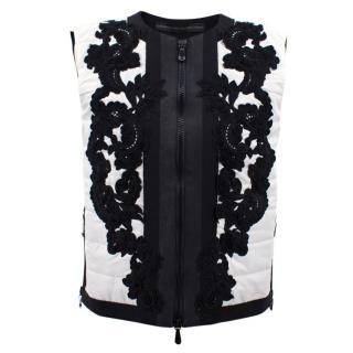 Ermanno Scervino white and black embroidered vest jacket