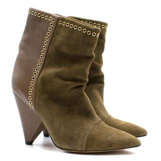 Isabel Marant green suede and leather lance boots