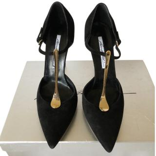 Brian Atwood black suede/leather pumps
