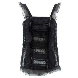Isabel Marant Black Sheer Ruffled Vest Top