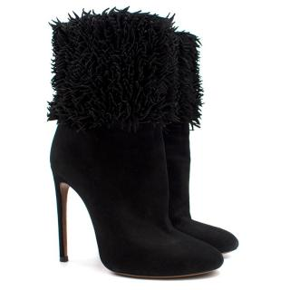 Alaia Black Suede Fringed Heeled Boots