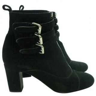 Tabitha Simmons black suede buckle ankle boots