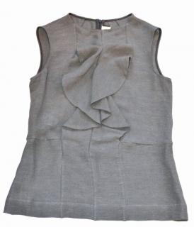 Marni grey silk-linen ruffle front top