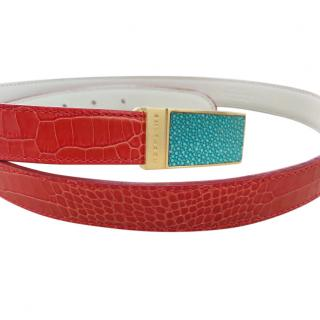 SMYTHSON red croc embossed belt with turquoise buckle
