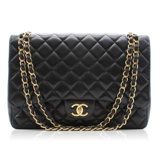 Chanel Black Lambskin Maxi Classic Quilted Flap Bag