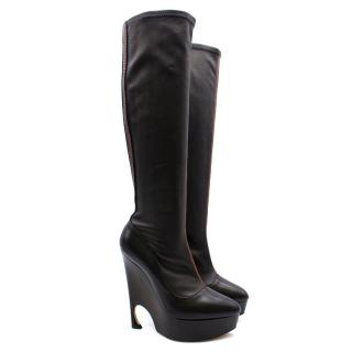 Dior black leather wedged boots