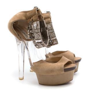 02d4c66f4352 Jimmy Choo Beige Suede Open Toe Heels with Embellishments