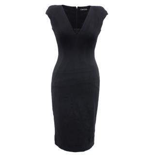 Tom Ford black v-neck cap sleeve dress