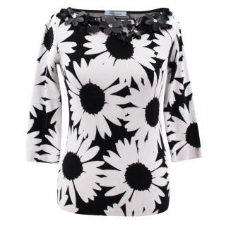 Blumarine black and white floral print top