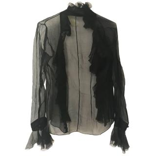 Alexander McQueen sheer black blouse