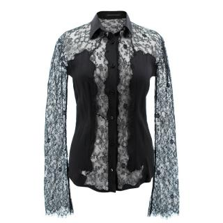 Ermanno Scervino Lace/Silk Sheer Blouse
